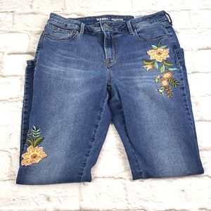 Old Navy Rockstar  Mid-Rise Embroidered Jeans 10